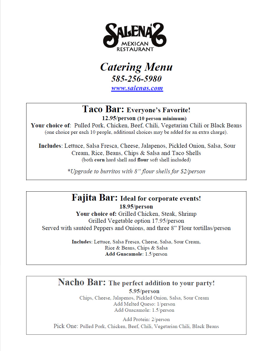 Salenas Catering Menu