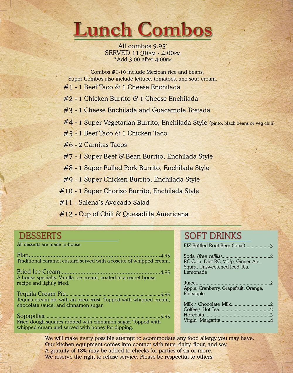 Salena's Mexican Restaurant Menu - Page 6